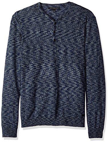 John Varvatos Men's Henley Sweater, Steel Blue, Large