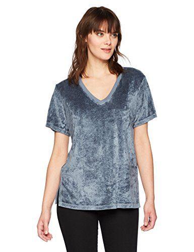 Michael Stars Women's Vali Velvet Short Sleeve V-Neck Slouchy Tee, Chrome, M