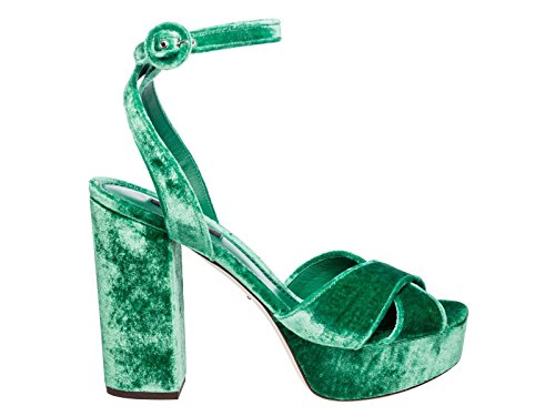 Dolce e Gabbana Women's Green Velvet Sandals