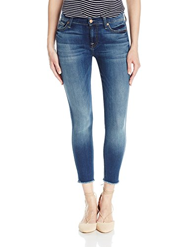 7 For All Mankind Women's The Ankle Skinny with Raw Hem, Rich Coastal Blue, 32
