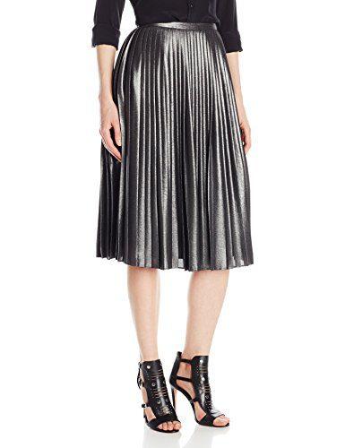 Ted Baker Women's Zainea Metallic Pleated Midi Skirt, Charcoal, 1