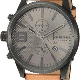 Diesel Men's RASP Chrono 50 Black Ip and Brown Leather Watch