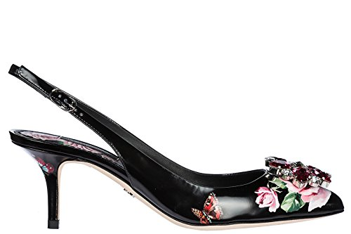 Dolce & Gabbana Women's Leather Pumps Court Shoes high Heel Bellucci Black US Size 8.5