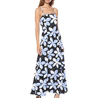 A|X Armani Exchange Women's Tropical Tie Back Dress, Pantelleria Flower White o, 6