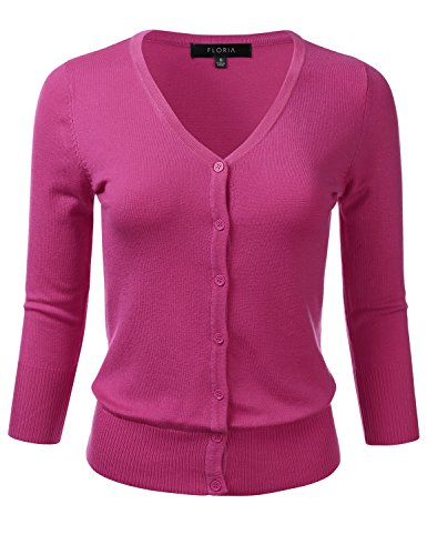 FLORIA Womens Button Down 3/4 Sleeve V-Neck Stretch Knit Cardigan Sweater Magenta L
