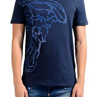 Versace Collection Men's Blue Graphic Print T-Shirt US 2XL IT 56;