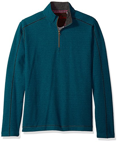 Robert Graham Men's Warrensburg Long Sleeve Knit 1/4 Zip, Heather Teal, 2XLARGE
