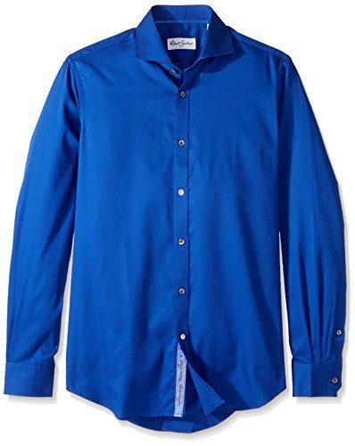 "Robert Graham Men's Classic Fit Satin Check Dress Shirt, Royal, 17"" Neck 36"" Sleeve"