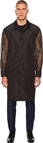 Versace Collection Men's Mesh Sleeve Trench Coat Black 48