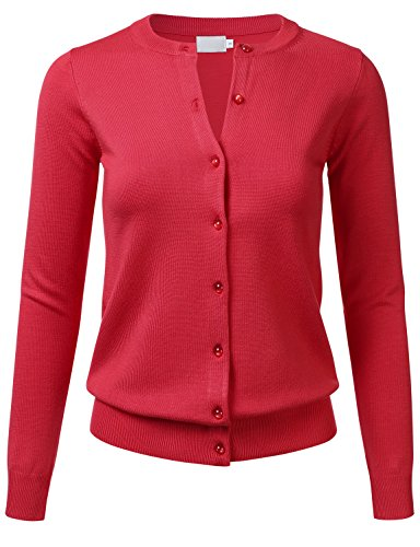 FLORIA Women Gem Button Crew Neck Long Sleeve Soft Knit Cardigan Sweater Red M
