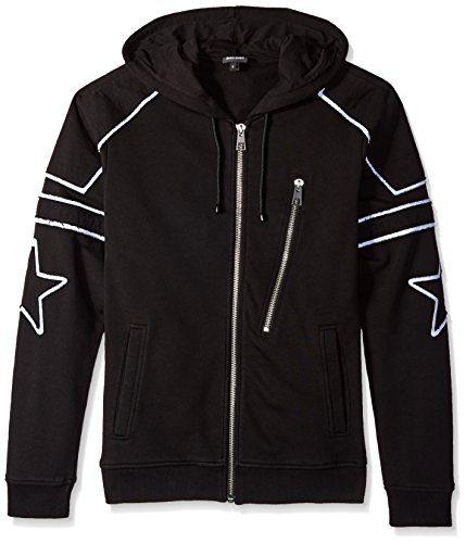 Just Cavalli Men's Star Hooded Zip up, Black, Small
