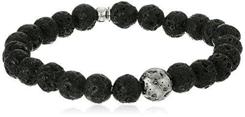 Tateossian Asteroid Ruthenium Silver Lava Beads Black Bracelet, Medium