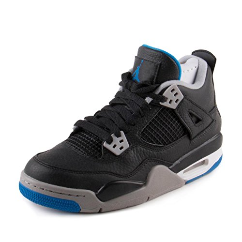 Jordan Nike: Kids Air IV 4 Retro BG Black/Silver Basketball Sneaker (4 M US Big Kid)