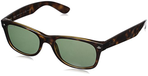 Ray-Ban Unisex New Wayfarer Polarized Sunglasses, Tortoise/Crystal Green, 55mm