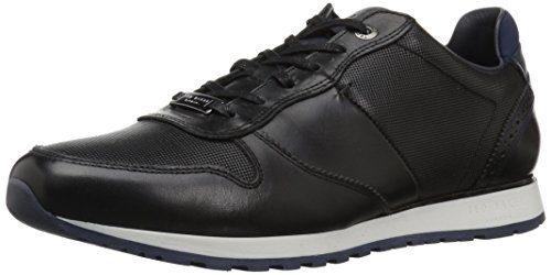 Ted Baker Men's Shindl Sneaker, Black Leather, 10 D(M) US