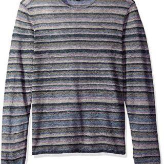 John Varvatos Men's Striped Crewneck Sweater, Steel Blue, Medium