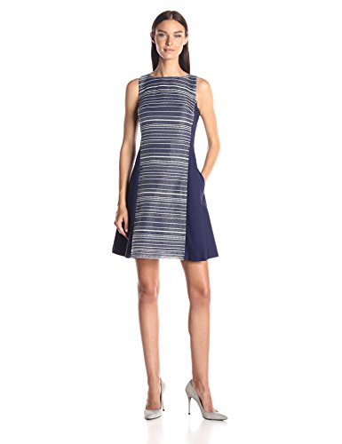 A|X Armani Exchange Women's Sleeveless Fit and Flare Dress, Evening Blue, 4