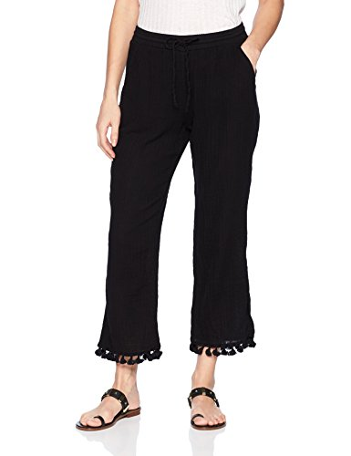 Michael Stars Women's Double Gauze Pull on Pant with Tassels, Black, M