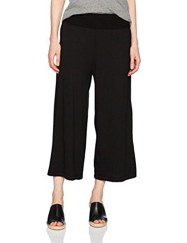 Michael Stars Women's Cotton Modal Cropped Wide Leg Culottes, Black, XS
