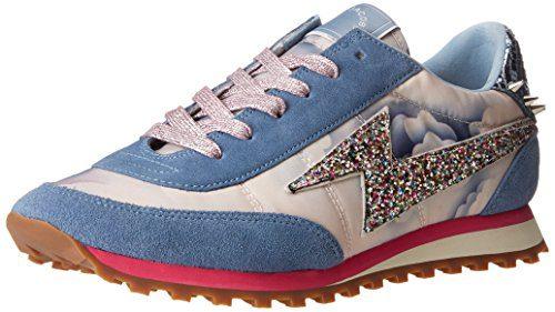 Marc Jacobs Women's Astor Lightning Bolt Jogger Fashion Sneaker, Blue/Multi, 37 EU/7 M US