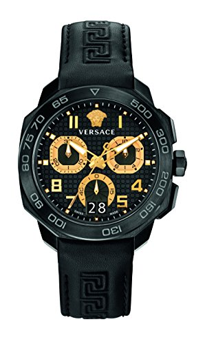 Versace Men's DYLOS CHRONO Black Stainless Steel Watch with Black Leather Band