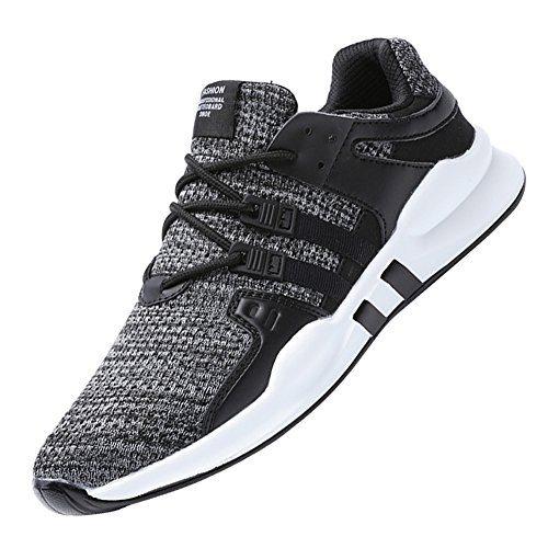 KUIBU Mens Breathable Lightweight Fabric Shock Absorption Fitness Tennis Sports Running Sneaker Shoes