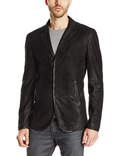 John Varvatos Collection Men's Slim Fit Leather Blazer Jacket, Black,50