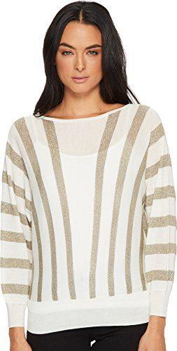 Trina Turk Women's Party Sweater Whitewash/Gold Medium