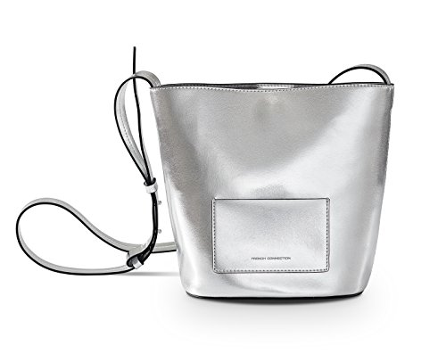French Connection Bucket Bag Bijon Crossbody Bucket Bag Fcuk523 High Shine Silver (High Shine Silver)