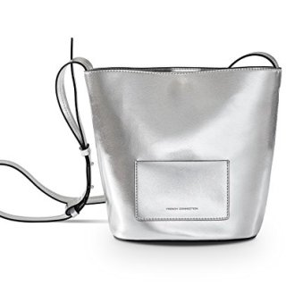 French Connection Bucket Bag Bijon Crossbody Bucket Bag Fcuk523 High Shine Silver (High Shine Silver)