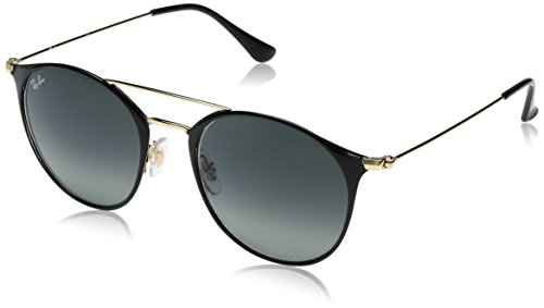 Ray-Ban Steel Unisex Round Sunglasses, Gold Top Black, 52 mm
