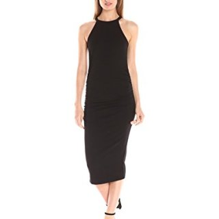 Michael Stars Women's Cotton Lycra Halter Midi Dress, Black, XS