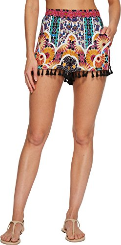 Trina Turk Women's Golden Medallion Shorts Cover up, Multi Colored, M