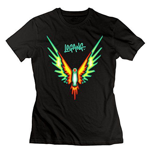 Katie P. Hunt Women's Logang Tropical Maveric Bird Logan Paul T Shirts Cotton Short Sleeve XXL Black