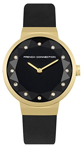 French Connection Women's Quartz Metal and Leather Casual Watch, Color Black