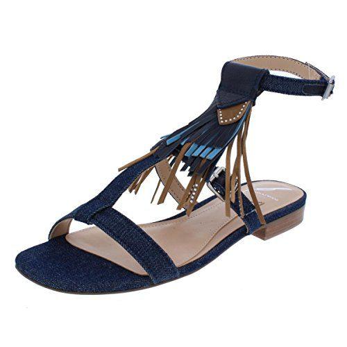 B Brian Atwood Womens Megan Denim Boho T-Strap Sandals Blue 7 Medium (B,M)