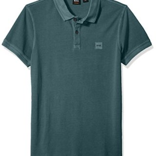 BOSS Orange Men's Prime Slim Fit Short Sleeve Polo T-Shirt, Open Green, Large