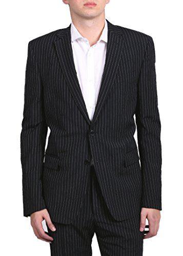 Versace Collection Men's Pinstripe Two-Piece Viscose Suit Black/White