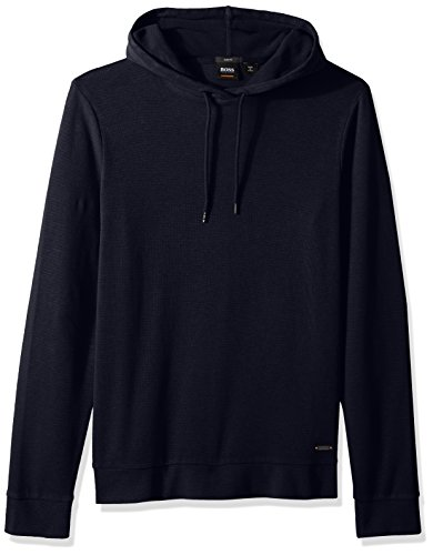 BOSS Orange Men's Cotton Lightweight Waffle Hoodie, Navy, Large