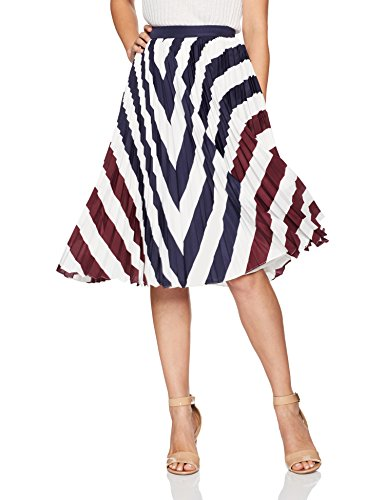 Ted Baker Women's Alliee Rowing Stripe Pleated Midi Skirt, Navy, 2