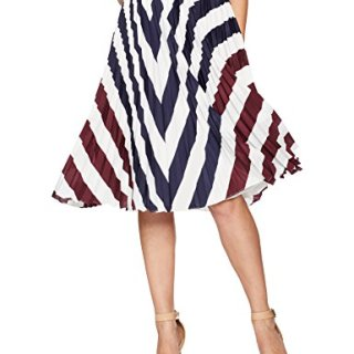 Ted Baker Women's Alliee Rowing Stripe Pleated Midi Skirt, Navy, 2