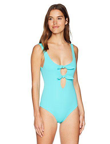 Mara Hoffman Women's Maven Double Tie Front One Piece Swimsuit, Caraibi Turquoise, Medium