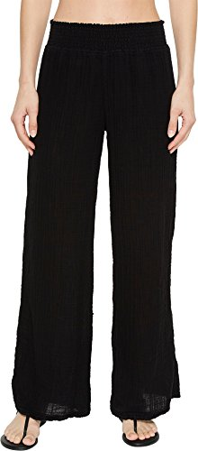 Michael Stars Women's Double Gauze Smocked Wide Leg Pant Black Medium 24