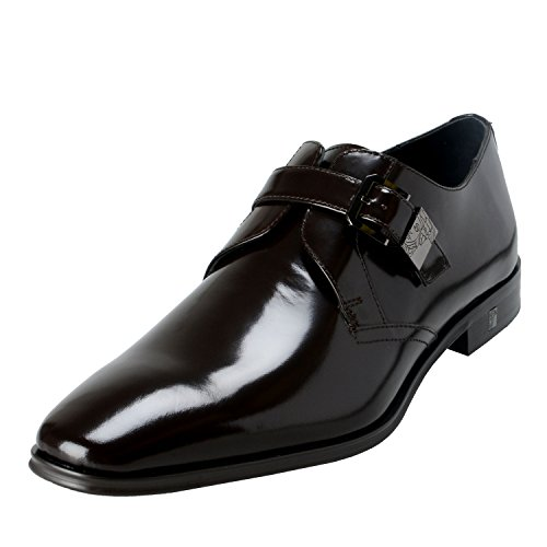 Versace Collection Men's Brown Polished Leather Loafers Shoes US 9 IT 42;