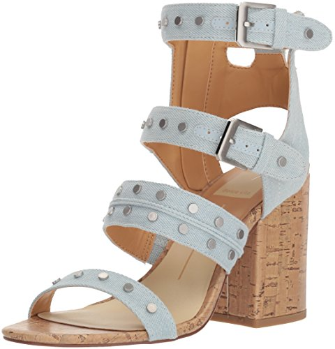 Dolce Vita Women's Eddie Heeled Sandal, Light Blue Denim, 7.5 M US