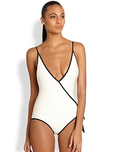 Marc by Marc Jacobs Le Shine Deep V White One Piece Swimsuit (M)