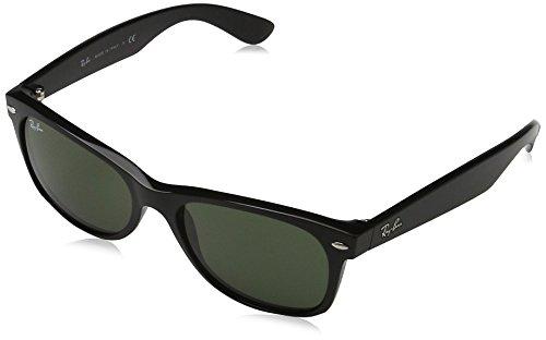 Ray-Ban - New Wayfarer Non-Polarized Sunglasses Black Frame Crystal Green Lens Size 55