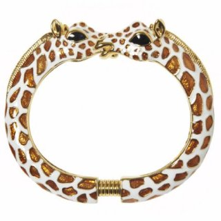 Kenneth Jay Lane White and Tan Enamel Giraffe Bracelet