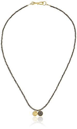 Satya Jewelry Pyrite Gold Plated Celestial Sun and Moon Charm Necklace, 18 inches