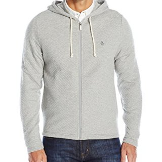 Original Penguin Men's Long Sleeve Quilted Full Zip, Rain Heather, Large